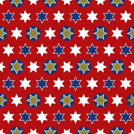 Christmas seamless wrapping paper - a repeating pattern with stars, red, gold, white and blue Illustration
