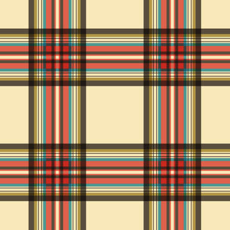 blue stripes: seamless illustration - tartan with beige, red, blue and brown stripes