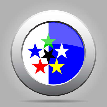 red light district: metal button with the flag on a gray background - Flags of the World
