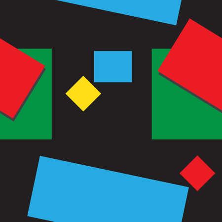 forme geometrique: illustration abstraite avec des formes géométriques colorées et des ombres sur un fond noir