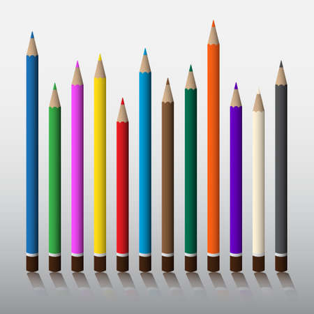 pencils set - twelve colored crayons with shadow