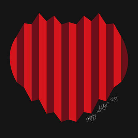 textil: Valentines greeting card - harmonica red hearts and text on a black background