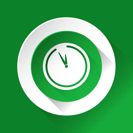 shiny icon: green circle shiny icon with white contour on a green background - last minute clock