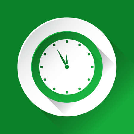 shiny icon: green circle shiny icon, white contour on a green background - last minute clock