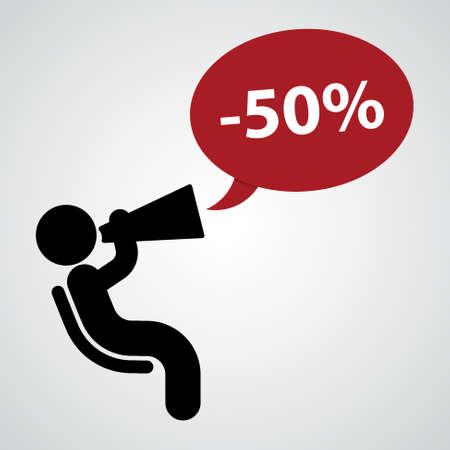 loudspeaker: figure announcing a discount to the loudspeaker