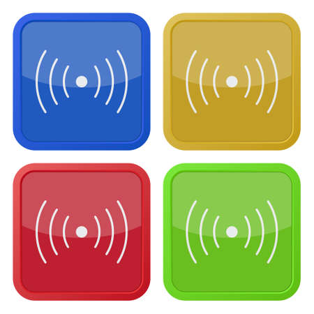 vibration: set of four colored square icons with sound or vibration symbol