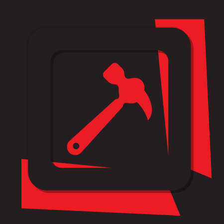 shards: red information icon with shards, black square with shadow - claw hammer Illustration