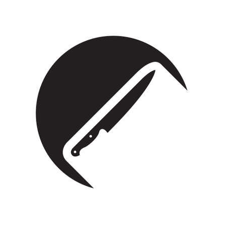 kitchen knife: black icon with kitchen knife and white stylized shadow Illustration