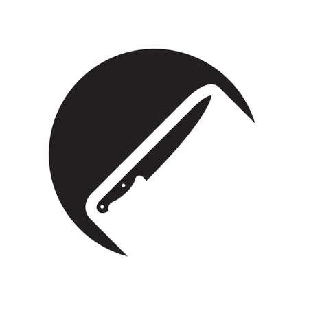 cuchillo de cocina: icono negro con cuchillo de cocina y sombra blanca estilizada