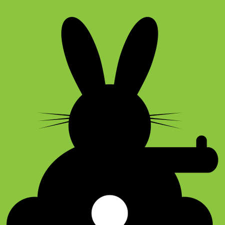 white tail: sitting and hitchhiking bunny with white tail on a green background Illustration