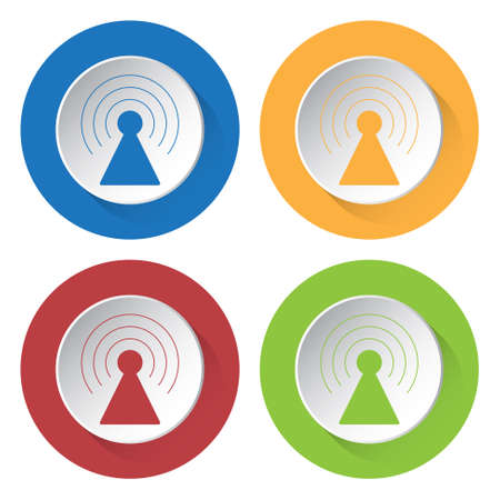 gprs: set of four colored icons with transmitter