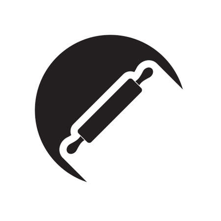 rolling pin: black icon with rolling pin and white stylized shadow