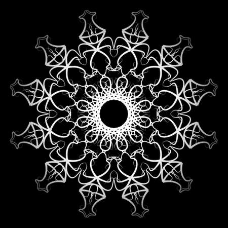 nirvana: white ornamental geometric mandala on a black background Illustration