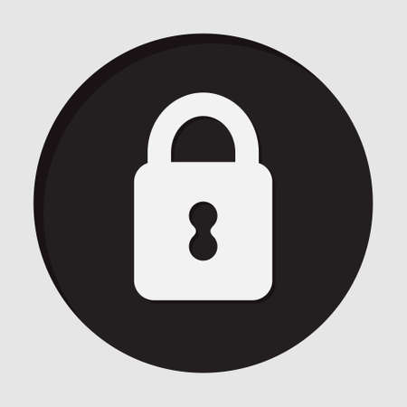 information icon - dark circle with white closed padlock and shadow 向量圖像