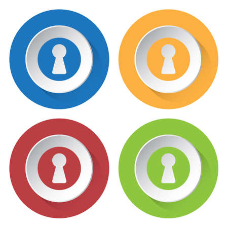 slit: set of four colored icons - blue, yellow, red and green keyhole