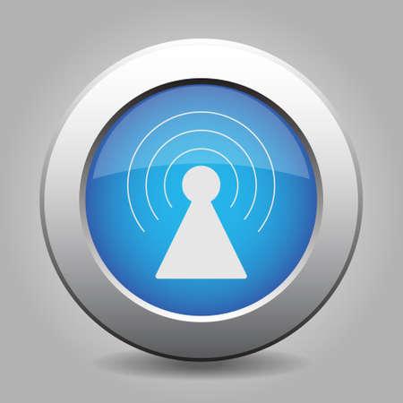 transmitter: blue metal button - with white transmitter symbol