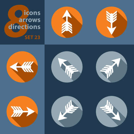 sideways: set of icons with arrows in eight directions with stylized shadows