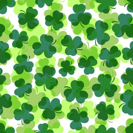 patron saint of ireland: background seamless illustration - shamrocks in three shades of green