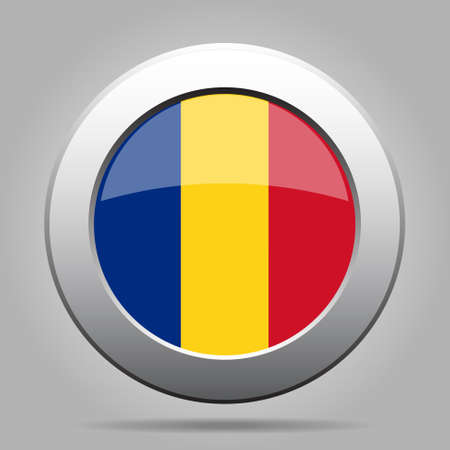 metal button: metal button with the national flag of Romania on a gray background Illustration