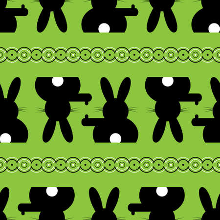 white tail: background seamless illustration - black Easter bunny with white tail
