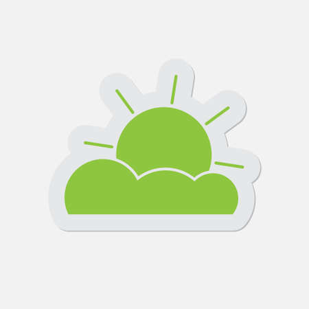 partly cloudy: simple green icon with contour and shadow - partly cloudy on a white background Illustration