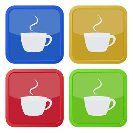 cup four: set of four colored square icons - cup with smoke