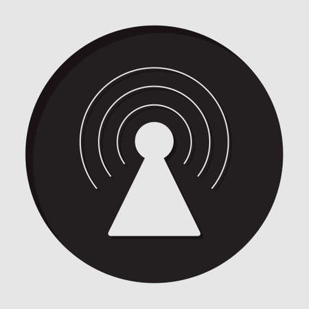 gprs: information icon - dark circle with white transmitter and shadow Illustration
