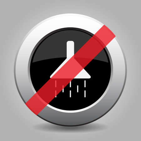banned: gray button with no shower - banned icon Illustration