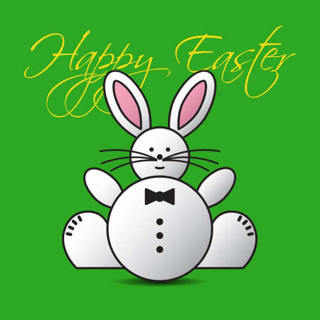 belly button: greeting card - lovely Easter bunny on a green background with text