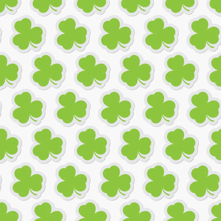 patrick backdrop: background seamless illustration - isolated green shamrocks with contour and shadow on a white background