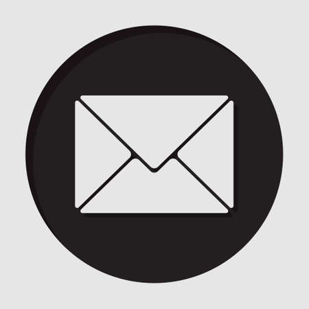 mailing: information icon - dark circle with white mailing envelope and shadow
