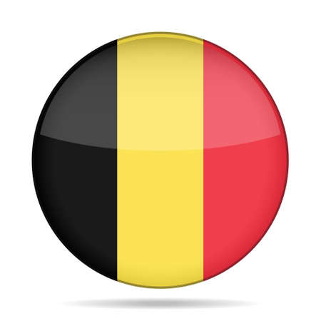 button with national flag of Belgium and shadow