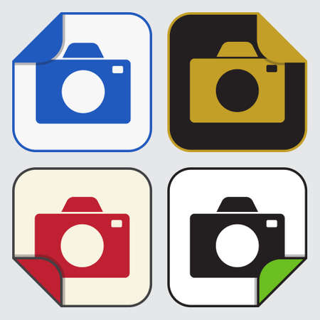 variable: set of four colored variable square sticky icons - camera