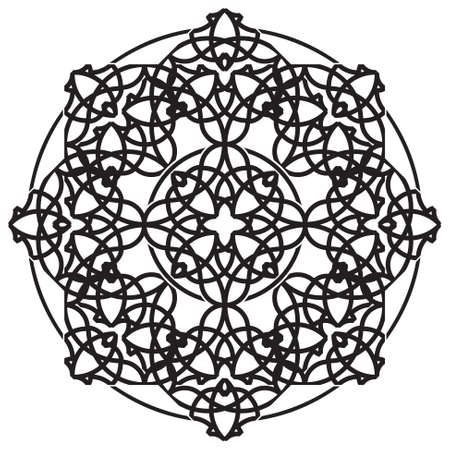 nirvana: black ornamental geometric mandala - isolated on a white background