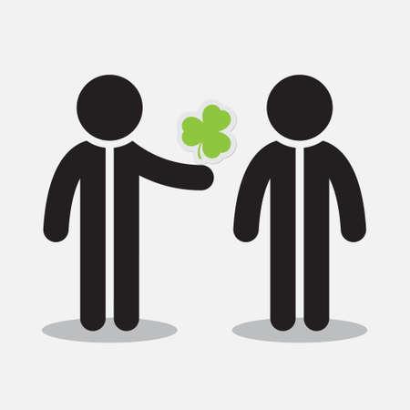 patron saint of ireland: Saint Patricks Day greeting card - two figures and shamrock
