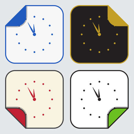 variable: set of four colored variable square sticky icons - last minute clock