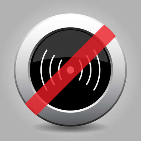 vibration: gray chrome button with no sound or vibration symbol - banned icon