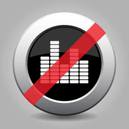 banned: gray chrome button with no equalizer symbol - banned icon Illustration