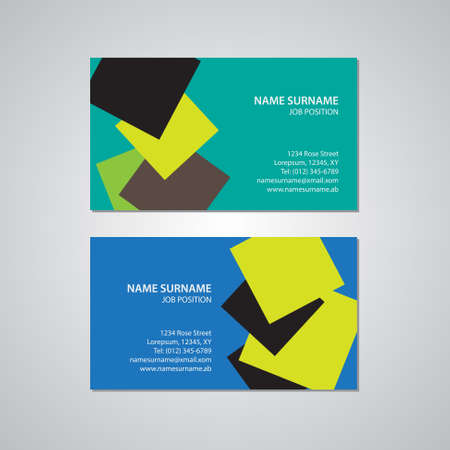 surname: set of two business cards, Canada and USA standard, 3,5 x 2 in, 88,9 x 50,8 mm