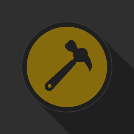 claw hammer: dark gray and yellow icon - claw hammer on circle with long shadow