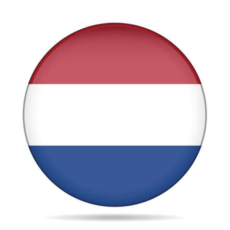 button with national flag of Netherlands and shadow