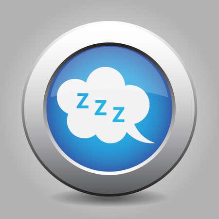 zzz: blue metal button - with white ZZZ speech bubbles