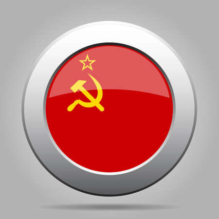 soviet union: metal button with the national flag of Soviet Union on a gray background