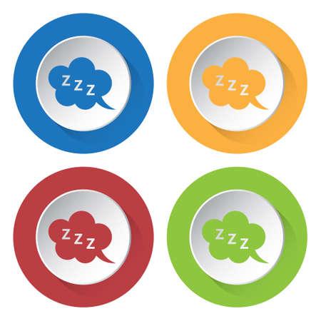 zzz: set of four colored icons - ZZZ speech bubbles Illustration