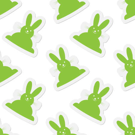 green back: background seamless illustration - green back Easter bunnies with outline and shadow Illustration