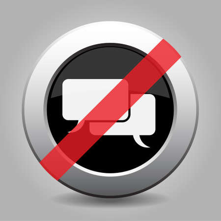 banned: gray chrome button with no speech bubbles - banned icon