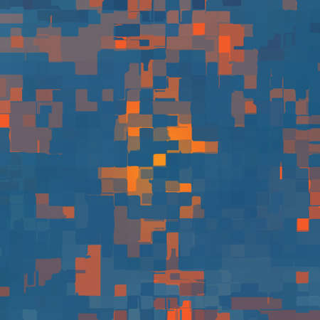 abstract deformed cubes in blue shades - blue and orange