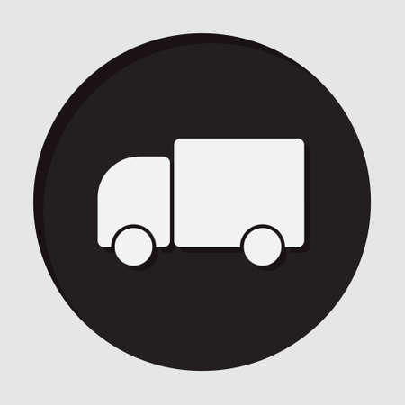 camion: information icon - dark circle with white lorry car and shadow