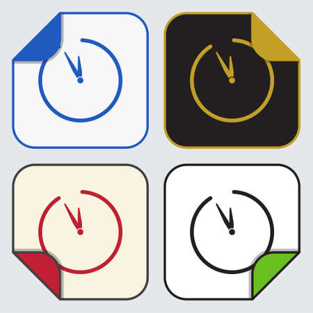 variable: set of four colored variable square sticky icons with bent corner - last minute clock