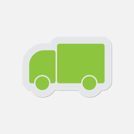 camion: simple green icon with contour and shadow - lorry car on a white background